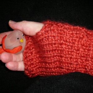 Knitted Fingerless Russet Colored  Mittens for Women