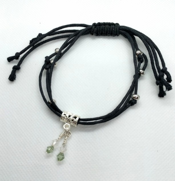 Adjustable Black Corded Bracelet with Silver Beads and Small Crystal Embellishments, Expandable Beaded Corded Bracelet, X-LG by Cumulus Luci