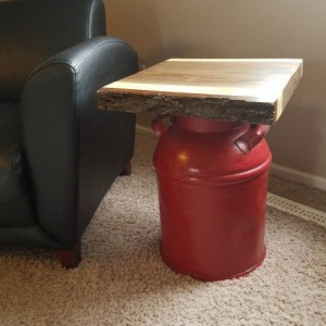 Vintage Milk Can Table with Live Edge Walnut Top