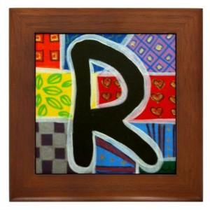 """Folk Art - Letter """"R"""" - FRAMED TILE By Artist A.V.Aposte"""