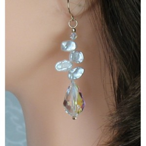 14k Gold-filled Genuine Keishi Pearl Swarovski Chandelier Dangle Earrings