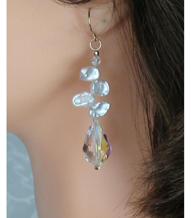 14k Gold-filled Genuine Keishi Pearl Swarovski Chandelier Dangle Earrings
