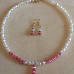 Sweet Pink Choker with Matching Earrings