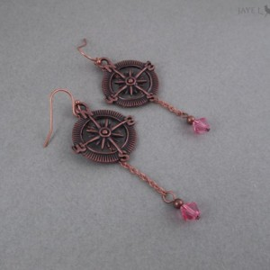 Copper Compass Earrings