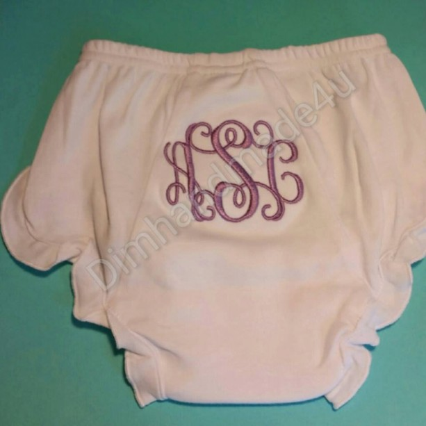 Monogram embroiderd bloomers, diaper cover.