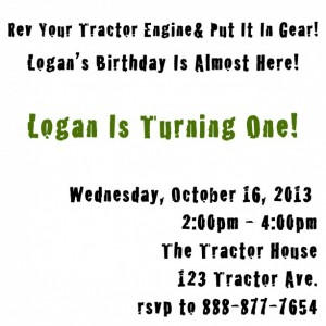 Tractor Invitations- green and brown- (Quantity 15)