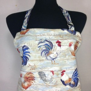 Rooster print kitchen apron for women, Farmhouse decor, with pocket and retro style ruffle