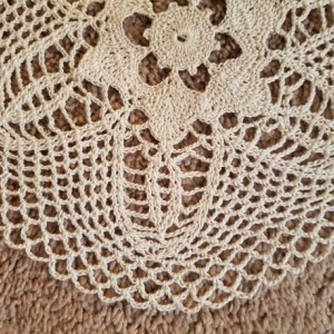 Handmade tan flower doily.  This is an original design doily.  Home decor.  Perfect for your table