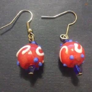 Patriotic Lampwork Earrings