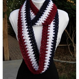 Red, White, and Blue INFINITY SCARF, Skinny Loop Cowl, Narrow Long Lightweight Winter Crochet Knit Striped, Very Soft, Patriotic Fourth of July, Ready to Ship in 2 Days