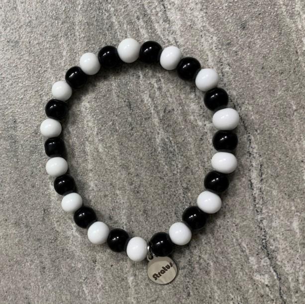 Men's stretch black & white glass beaded bracelet 7-8mm