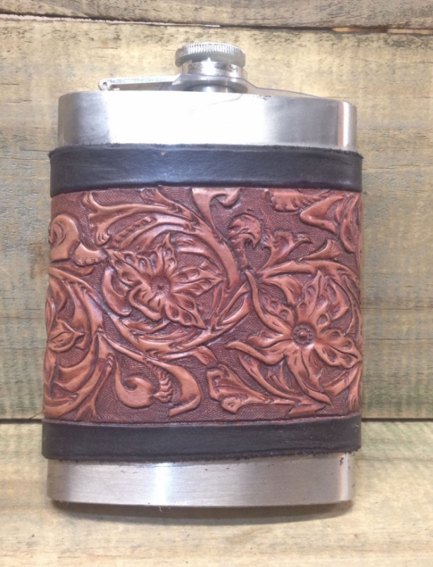 Leather wrapped Flask Cover