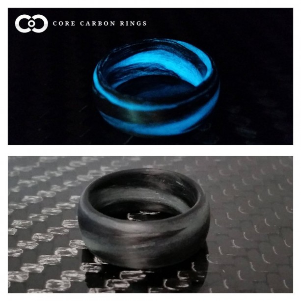 Men's or Women's Carbon Fiber Grey/Aqua Marbled Glow Ring - Handcrafted - Black and Grey/Aqua Glowing Band - Custom Band widths