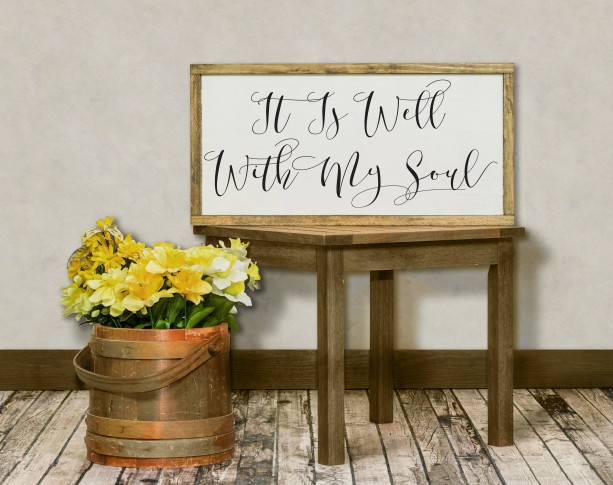 It is Well With My Soul Distressed Wood Sign, Inspirational Sign, Motivational Hymn Sign, Scripture Wall Art, Living Room Sign, Bible Verse
