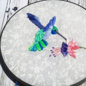 Hummingbird with Flower Hand Embroidery in a Hand Stained Hoop- Wall Art (6 inch) *Only One Available!*