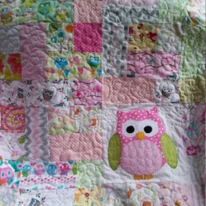 Modern baby girl owl quilt, handmade pastel pink crib quilt, Ready to ship owl nursery blanket