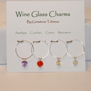 Natural Gemstone and Sterling Silver Wine Glass Charms