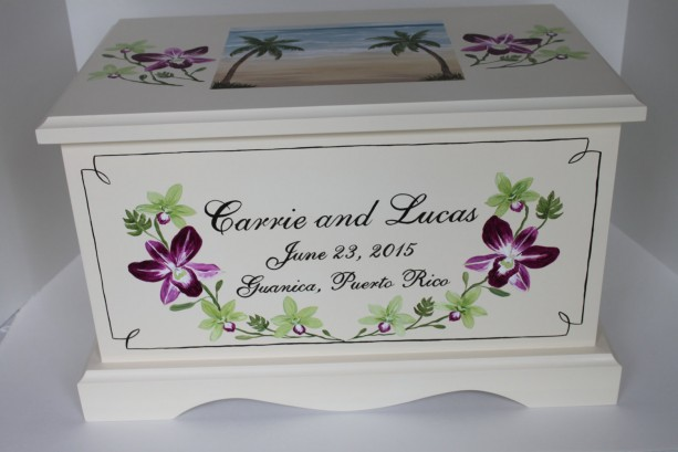 Orchids and beach theme Wedding Keepsake Chest Box personalized wedding gift
