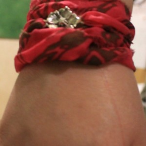 Pink Silk Ribbon Wrap With Silver Rose connector