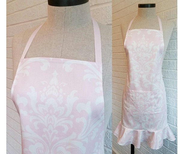 Pale Pink Ruffled Apron with Pocket, FREE Shipping