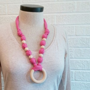 Wood Bead Pink Necklace with Ring - FREE SHIPPING - Nursing Teething, Made in USA