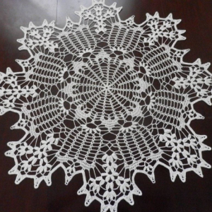 """Lovely Real Handmade Crochet Lace Tablecloth-Doily, SNOW-WHITE, Round, 35.5"""", FREE shipping"""