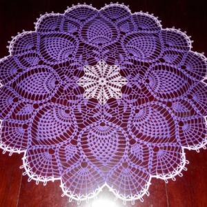 """Stunning Real Handmade Crochet Tablecloth-Doily, PURPLE, Round, 36"""", 100% Cotton, US FREE shipping"""