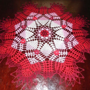 """Stunning Real Handmade Crochet Doily, Red, Round, 28"""",""""Daisy Meadow"""", Cotton100%, USA FREE shipping"""