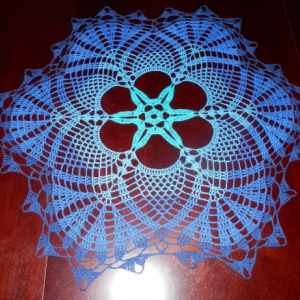 """Lovely Handmade Crochet Tablecloth Doily, Blue Colors, Round, 23"""", 100% Cotton"""