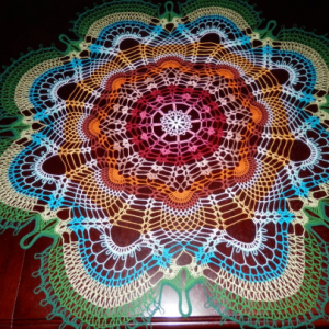 "Stunning Handmade Crochet Tablecloth Doily, 46"", ""Rainbow Peacock Tail"", Cotton 100%, USA FREE shipping"