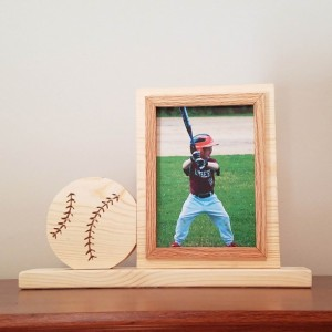 Personalized 4 x 6 Picture Frame with Carved Baseball, Customized Baseball Photo Frame