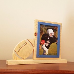 Personalized 4 x 6 Picture Frame with Carved Football, Customized Football Photo Frame