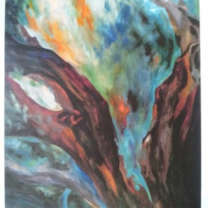 SALE! EARTHY RED Oversized Abstract Tree Art canvas giclee print of oil painting in turquoise, orange, black, green, teal by Hawaii artist