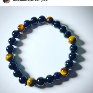 Exquisite, Gorgeous Gloss Black Onyx/Tiger Eye Bracelet