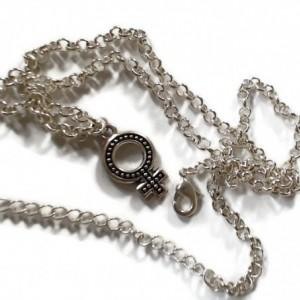 "Venus Symbol Necklace / Female Symbol Necklace 18-20"" Silver-Plated"