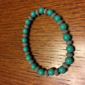 Turquoise Acrylic Bead Elastic Bracelet