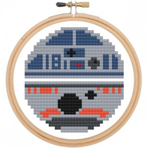 R2D2 & BB8 Star Wars Cross Stitch DIY KIT Needlework Embroidery Beginner 3inch