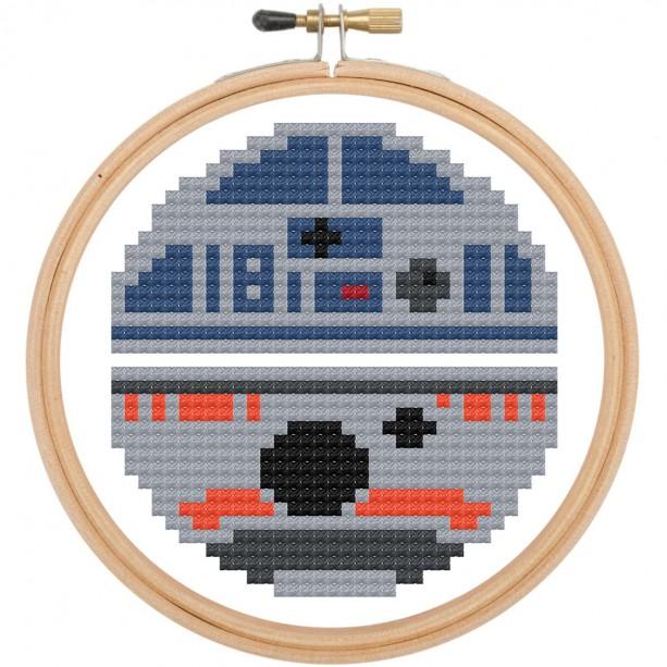 R2D2 & BB8 Star Wars Cross Stitch DIY KIT Needlework Embroidery Beginner 3inch