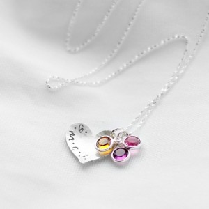 Hand Stamped Mother's Heart Initials Necklace in Sterling Silver