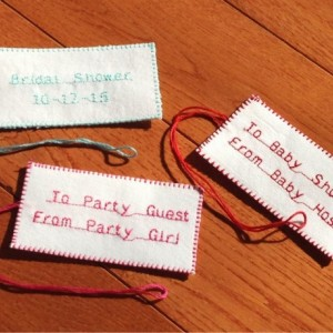 "2"" x 3 3/4"" (10) Handmade. Fabric. Personalized Tags. Wedding. Birthday. Bridal Shower. Baby Shower. Gift Bag Tags. Favor Tags. DMC Floss."