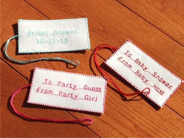 "2"" x 3 3/4"" (30) Handmade. Fabric. Personalized Tags. Wedding. Birthday. Bridal Shower. Baby Shower. Gift Bag Tags. Favor Tags. DMC Floss."