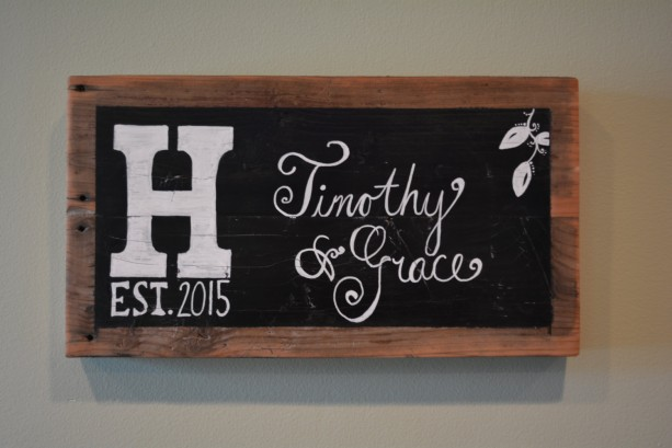 Personalized Reclaimed Wood Chalkboard Block Wall Hanging Home Decor