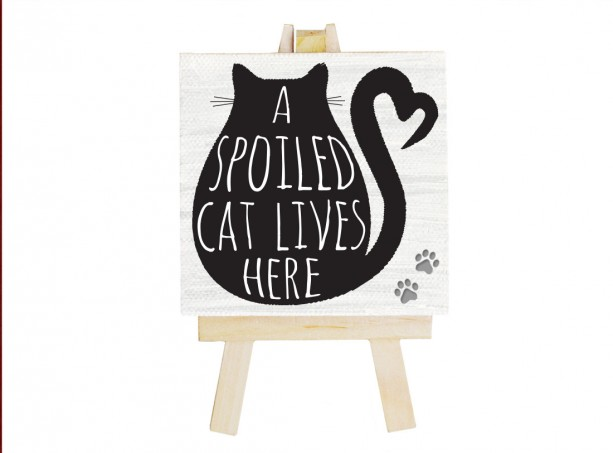 Spoiled Black Cat mini canvas. Cat lover gift. Cat. Black cat art. Gift for best friend. Gift for cat lover. Cat art. Cat sign Magnet