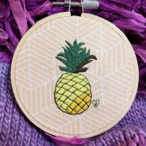 Pineapple Embroidery Hoop Art