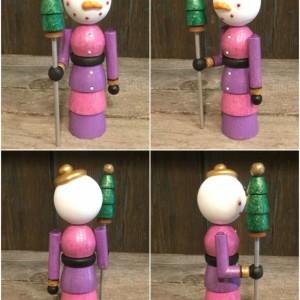 Snowman wood turning figurine