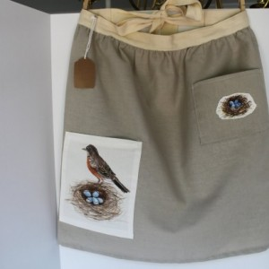 Kitchen apron  - Farmer's Market Apron - Linen bird nest