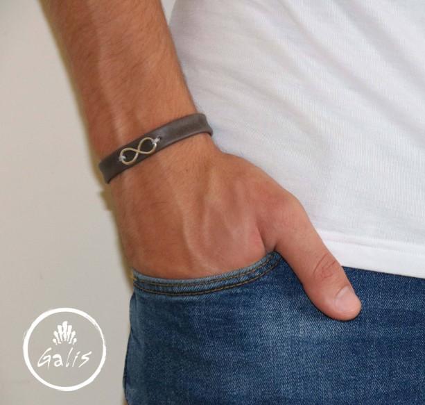 Men's Bracelet - Men's Infinity Bracelet - Men's Leather Bracelet - Men's Cuff Bracelet - Men's Jewelry - Men's Gift - Husband Gift - Male