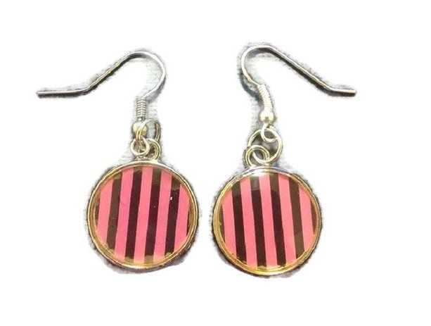 Black and Purple Striped Charm Earrings