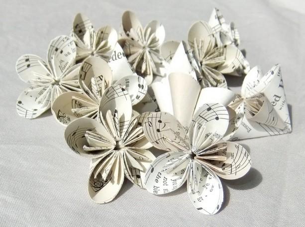 6 mini sheet music origami flowers aftcra set of 6 mini sheet music origami flowers rounded melody upcycled table decoration mightylinksfo