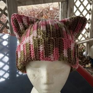 Cat Ears Beanie - Pink Camo